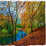 BROSHAN Country Fall Nature Shower Curtain Set,Autumn Fall Tree Forest Falling Leaves Woodland Jungle River Art Print,Polyester Fabric Bathroom Decor,72x72 inch Long,Green,Orange