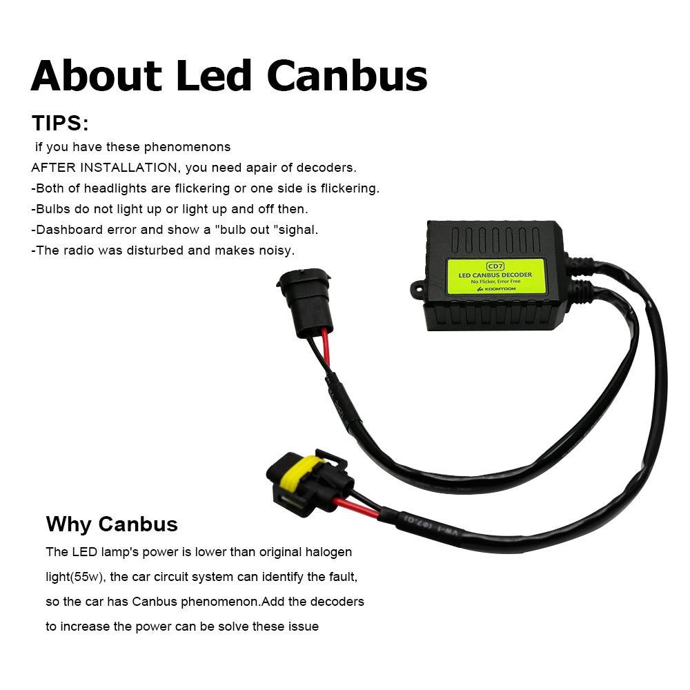 KOOMTOOM Newest Enhancement CD7 Canbus Decoder H13 9008 Led Anti flicker Harness Resistor Headlight Bulb Warning Error Canceller Decoder For Patriot Ram