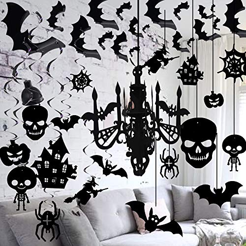 Halloween 3D Chandelier Hanging, foil Swirl Decorations and 3D Waterproof Bat Wall Stickers Set by ForceMaxe (3 Men And A Baby Ghost In Window)
