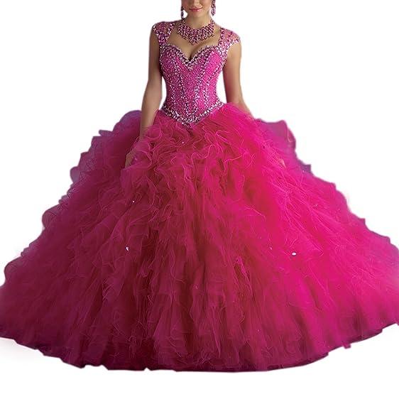 Women\'s Hot Pink Long Puffy Sweet 15 Dress Quinceanera Organza Ball ...