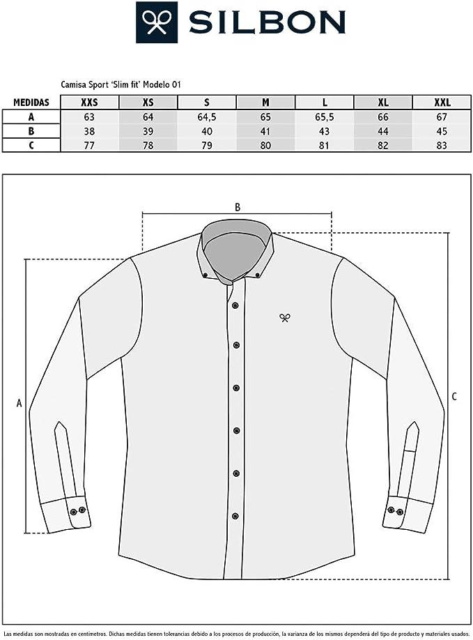 SILBON - Camisa Sport Basica Denim Azul Claro para Hombre ...