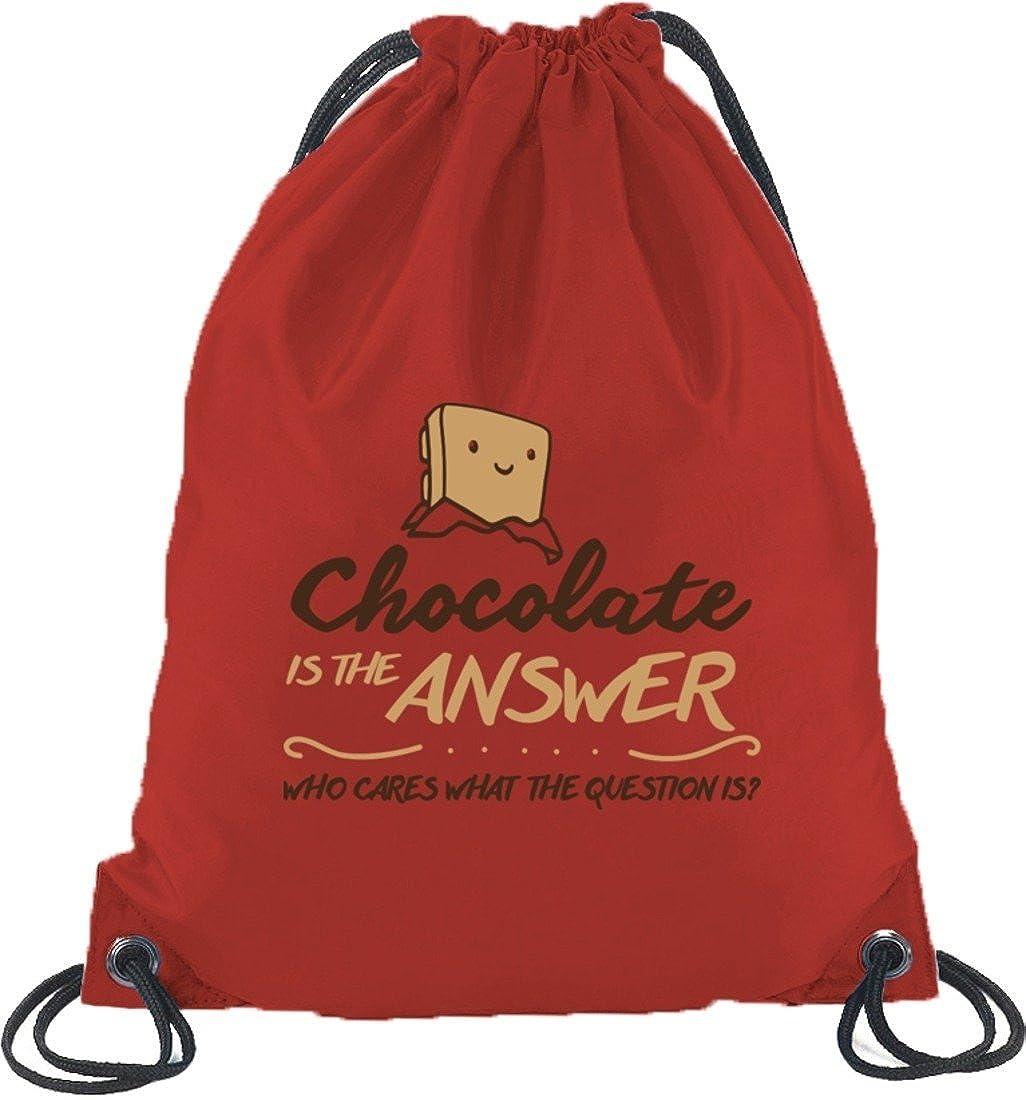 Shirtstreet24 Chocolate Is The Answer Baumwoll natur Turnbeutel Sport Rucksack