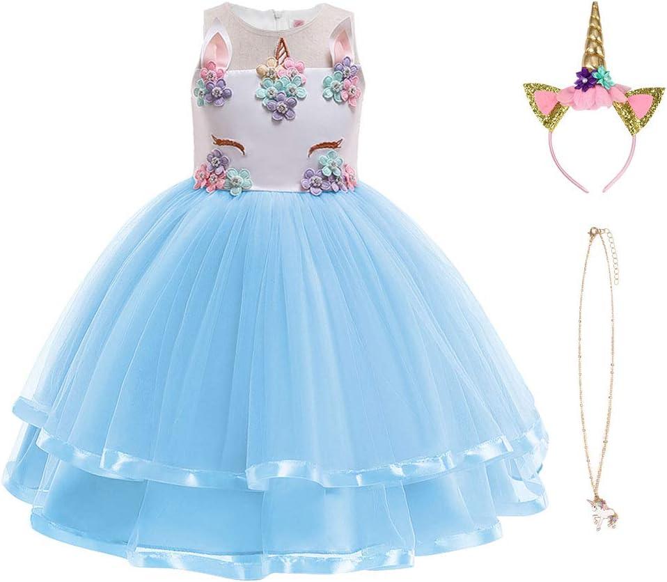 URAQT Disfraz de Princesa, Traje del Vestido Traje de Princesa de la Nieve Vestido Infantil Disfraz de Princesa de Niñas para Frozen Themed Fiesta Cumpleaños Navidad Halloween Ros Azul 100CM