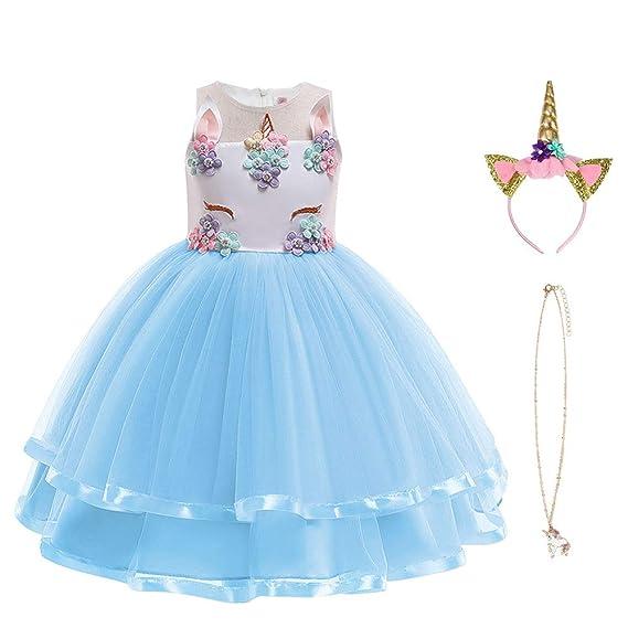URAQT Vestido de Princesa Elsa, Reina Frozen Disfraz Elsa Vestido Infantil Niñas Costume Azul Cosplay de Disfraz de Halloween, Cumpleaños