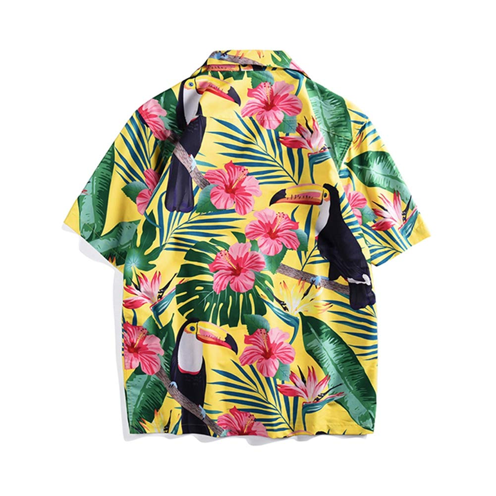 Sky-Blue,L QHF Mens Hawaiian Printed Shirt Loose Summer Short-Sleeved Casual Beach Shirts