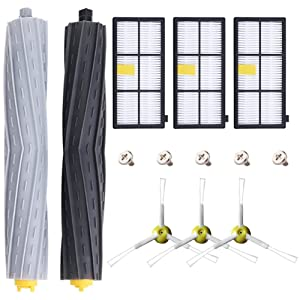 Replenishment Kit for iRobot Roomba 800 900 Series 805 860 870 871 880 890 960 980 Robotic Vacuum Cleaner Accessory,Replacement Parts with 2 Roller, 3 Hepa Fliter and 3 Side Brushes+ 5 Screws (13 pcs)