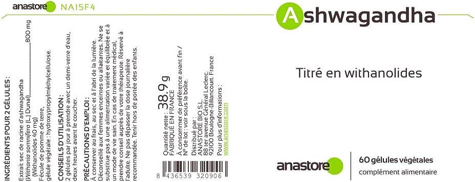ASHWAGANDHA * 400 mg / 60 cápsulas * Titulado al 5% en witanólidos ...