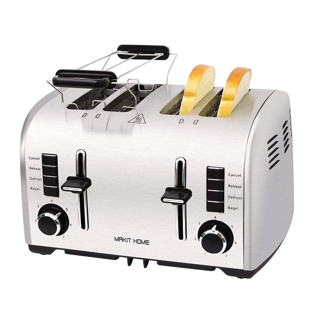 Toaster 4 Slice, Retro Small Stainless Steel Toaster with Bagel, Cancel, Defrost Function, Reheat Extra Wide Slot Compact Bread Top Rated Best Prime Toasters for Bread Waffles Small Retro Toaster Oven by Catch Supplies
