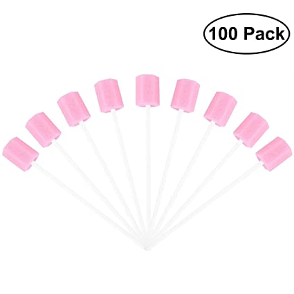 ROSENICE Esponjas bucales Esponjas dentales 100 unids Toallitas húmedas desechables de limpieza bucal con esponja hisopos