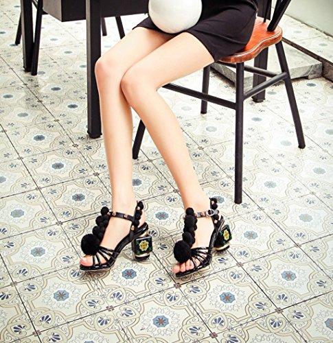 Peep Flores EU39 Mujeres Hebilla Retro Boots Stiletto Sandalias Moda Moda Altos Court De Fiesta Tacones La Tarde Kaitzen De Toe Bomba Las Zapatos xft0z