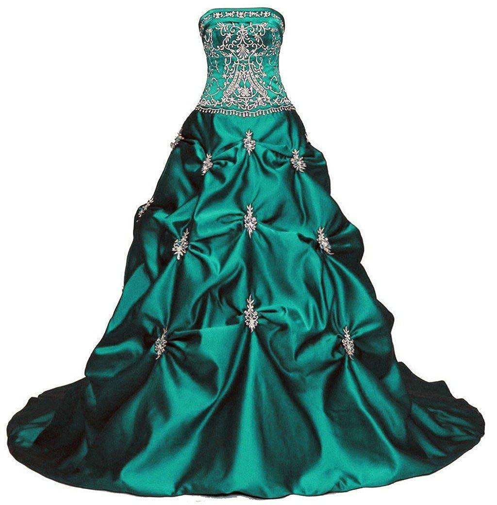 Emerald Vantexi Women's Elegant Strapless Embroidery Wedding Dress Bridal Gown
