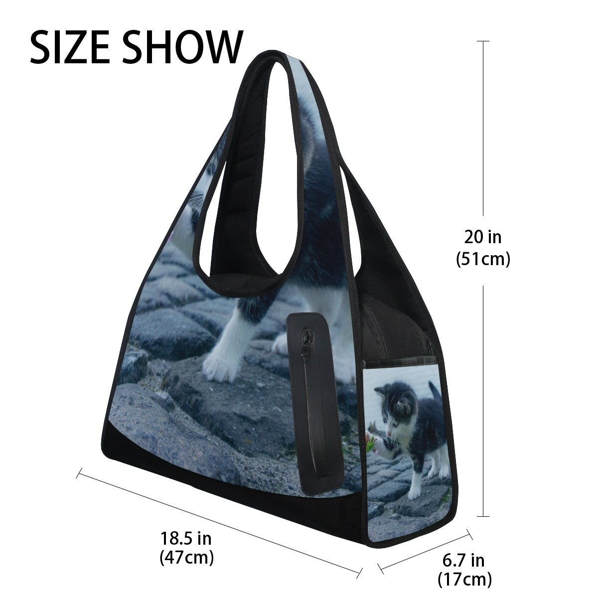 AHOMY Sports Gym Bag Stone Flower Cat Duffel Bag Travel Shoulder Bag