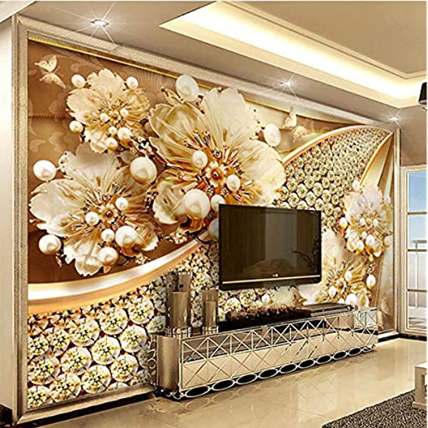 Amazon Com Lifme Custom Photo Wallpaper 3d Embossed Gold Jewelry Flower Mural European Style Living Room Tv Background Wall Painting Luxury Decor 150x120cm Home Kitchen