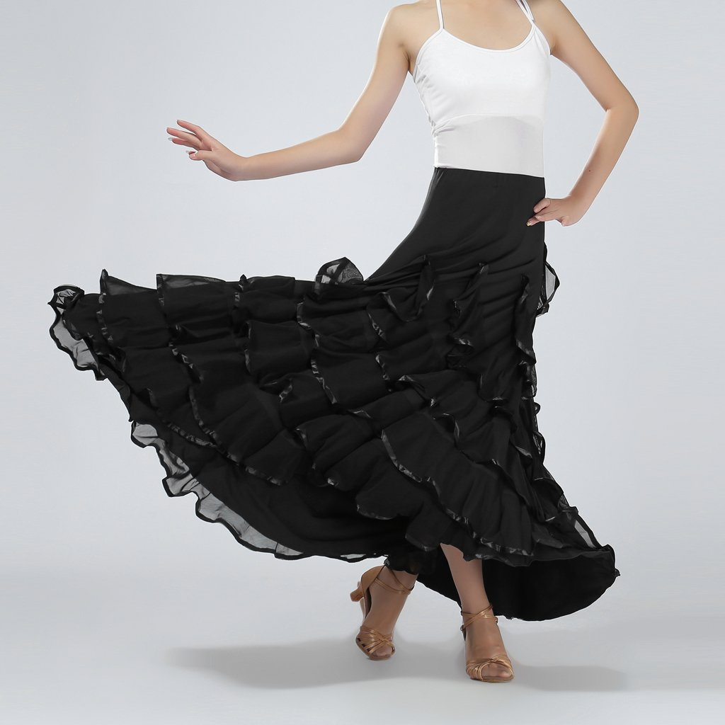 Fenteer Jupe flamenco de danse flamenca gitane andalouse adulte - Noir 9ed6685b256