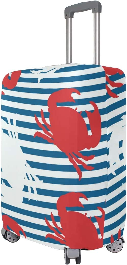 Baggage Covers Red White Crab Blue Stripes Washable Protective Case