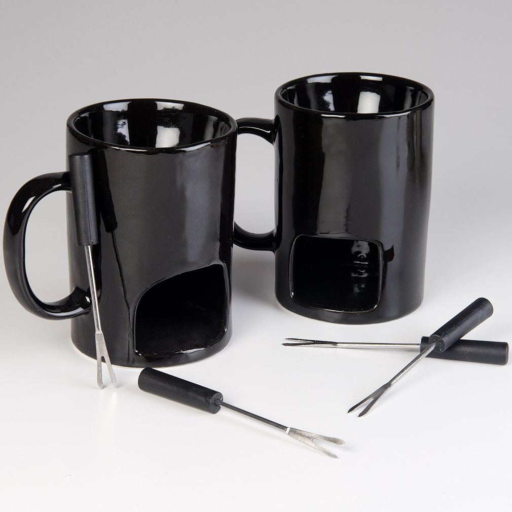 Evelots Fondue Mugs,2 Mugs,4 Forks & 8 Votive Candles-Minor Defects-14 Piece Set by Evelots (Image #5)