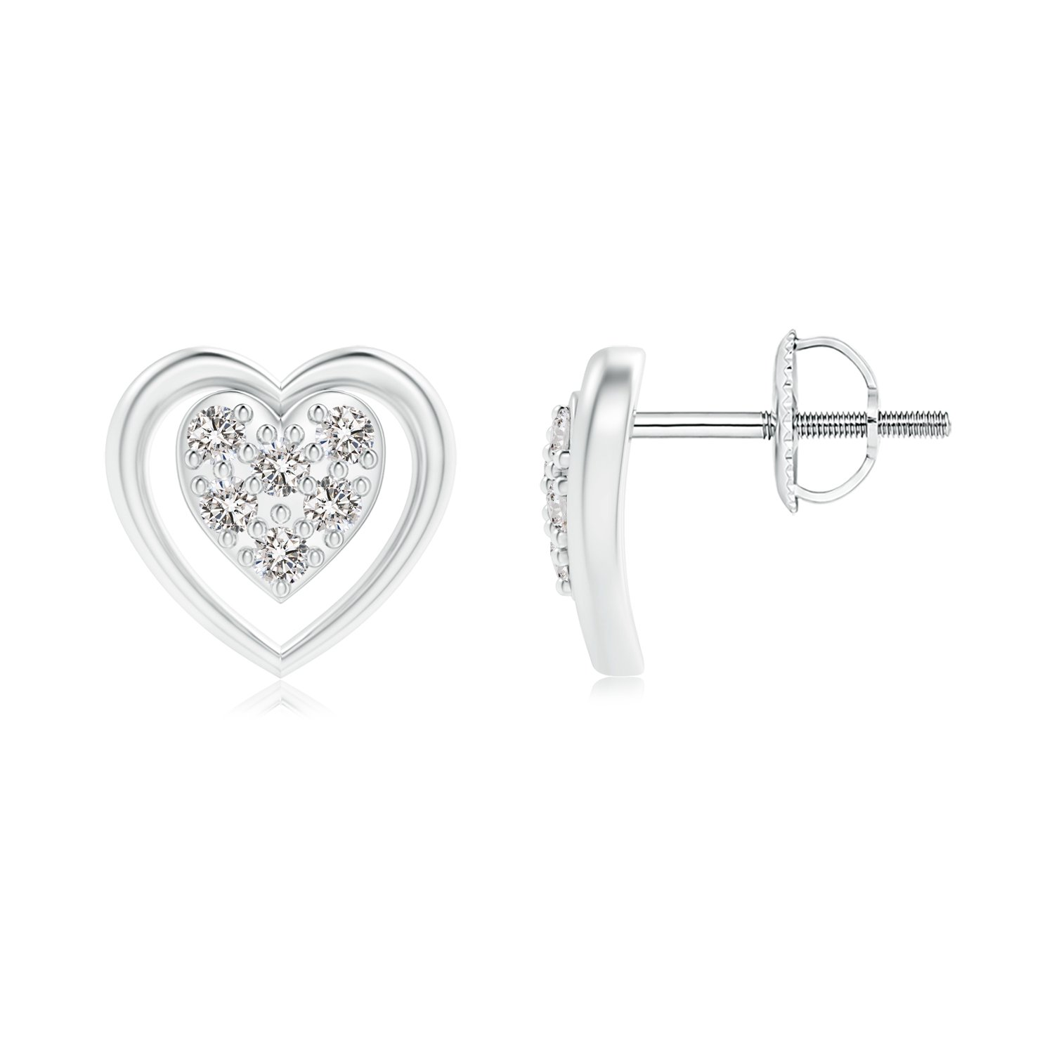 Angara Round Cluster Diamond Open Heart Stud Earrings gnEWhiIHX