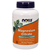 NOW Supplements, Magnesium Citrate, Enzyme Function, Nervous System Support, 120...
