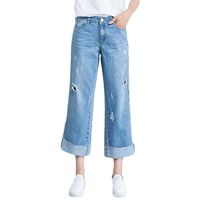 1d386a505 LINNUO Mode Mujer Jeans con Pierna Recta Pantalones de Cintura Alta ...