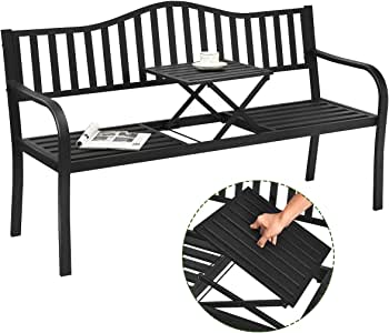 Giantex Garden Bench, Outdoor Metal Patio Benches w/Pullout Middle Table for Porch Path Yard Lawn Decor Deck Outdoor Metal Loveseat (Black)