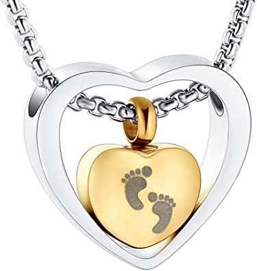 Cremation Jewellery Ashes Urn for Baby w Baby Feet Keepsake Memorial Necklace