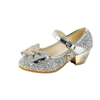 YYF Fille Chaussures Ballerine Princesse Ballerine a Talon avec Paillettes 225910dd3999
