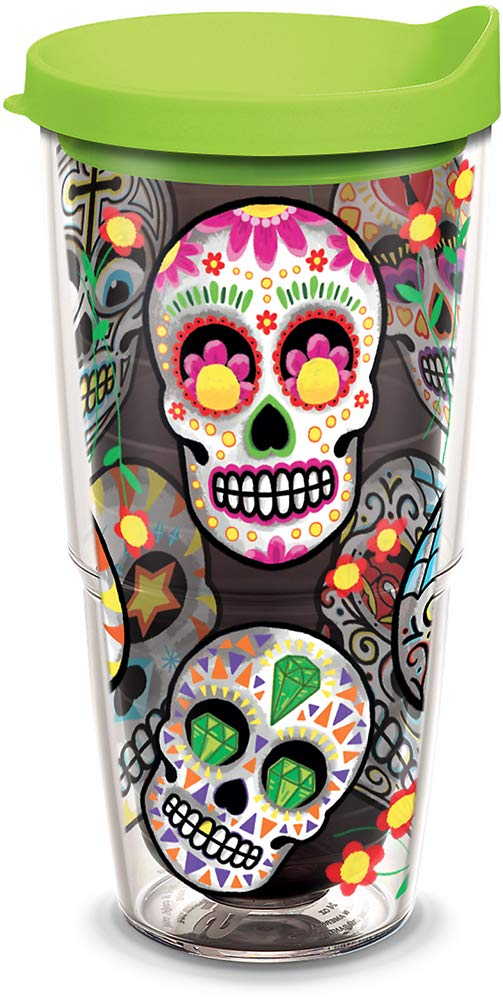Tervis 1308212 Sugar Skulls Insulated Tumbler with Wrap and Royal Purple Lid, 24oz, Amethyst