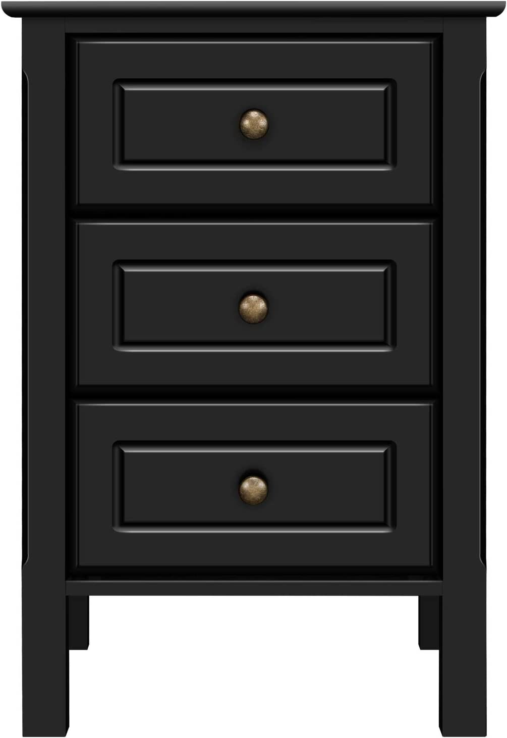 YAHEETECH Wood 3-Drawer Nightstand with Solid Pine Wood Legs Bedroom Furniture, Black