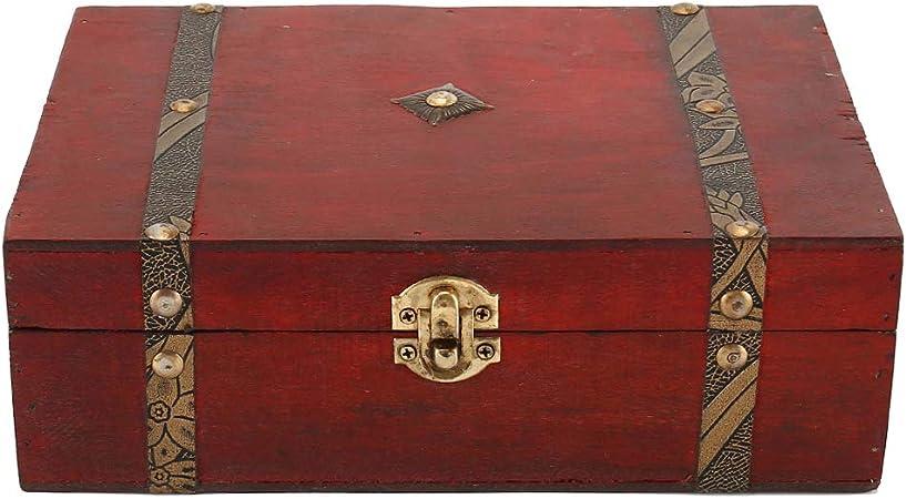 dongwanshidamuzhisuliaowujinzhipinyouxiangongsi - Caja Fuerte de Madera con candado de Estilo Antiguo Decorativo - Dimensiones: 26 x 26 x 11 cm: Amazon.es: Hogar