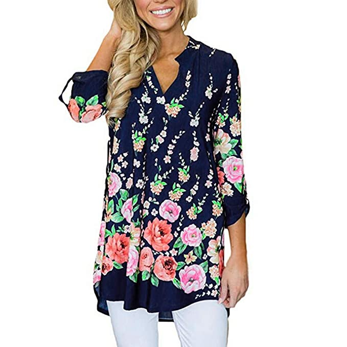 ce4874ca623666 iZHH Fashion Womens Shirt Casual V Neck Split Floral Print Cuffed Sleeve  Shirt Blouses Tops Navy