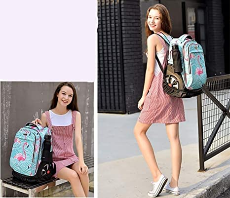 Girls and Boys USB Charging Travel Backpack Bag 18-inch Student Backpack for School Or College EAHKGmh Rolling Wheeled Laptop Backpack Color : A