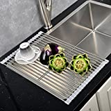 Commercial Kitchen Sink Best Large Commercial Kitchen Folding Small Mat Over The Sink Compact Stainless Steel Dish Rack, Dish Drying Rack Gray