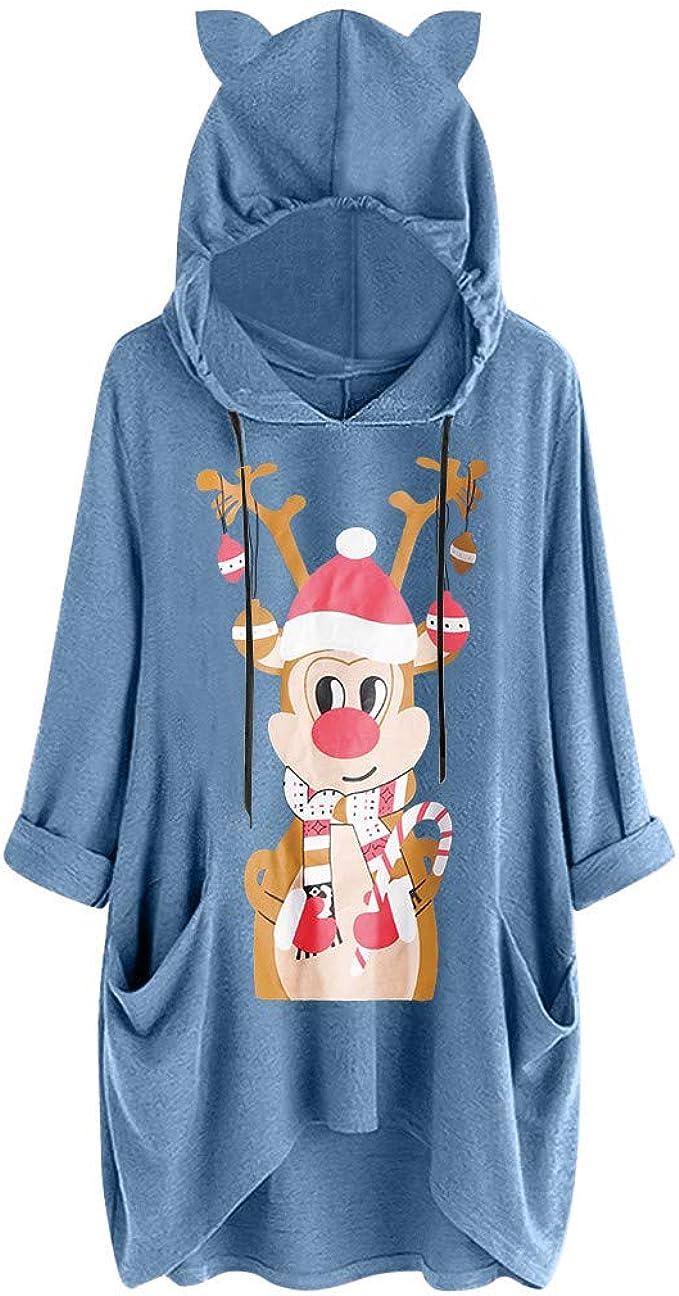 Toimothcn Women Cute Cat Ear Hooded Tops Plus Size Print Short Sleeves Pocket T Shirt Dress
