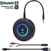 Giveet Bluetooth V5.0 Transmisor y Receptor con aptX Low Latency, Adaptador Inalámbrico de Transmisión de Audio Bluetooth para TV, PS4, XBOX, PC, Auriculares, Altavoz Estéreo de Coche con Sonido en el Hogar con Toma de 3.5mm o RCA
