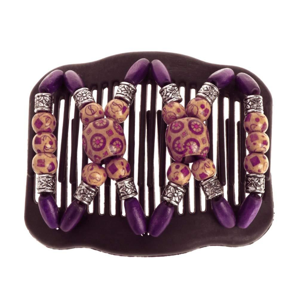 Yunnuopromi en bois/Ladies vintage Magic Peigne à cheveux double Slide Clip Headwear Perles de bois Epingle