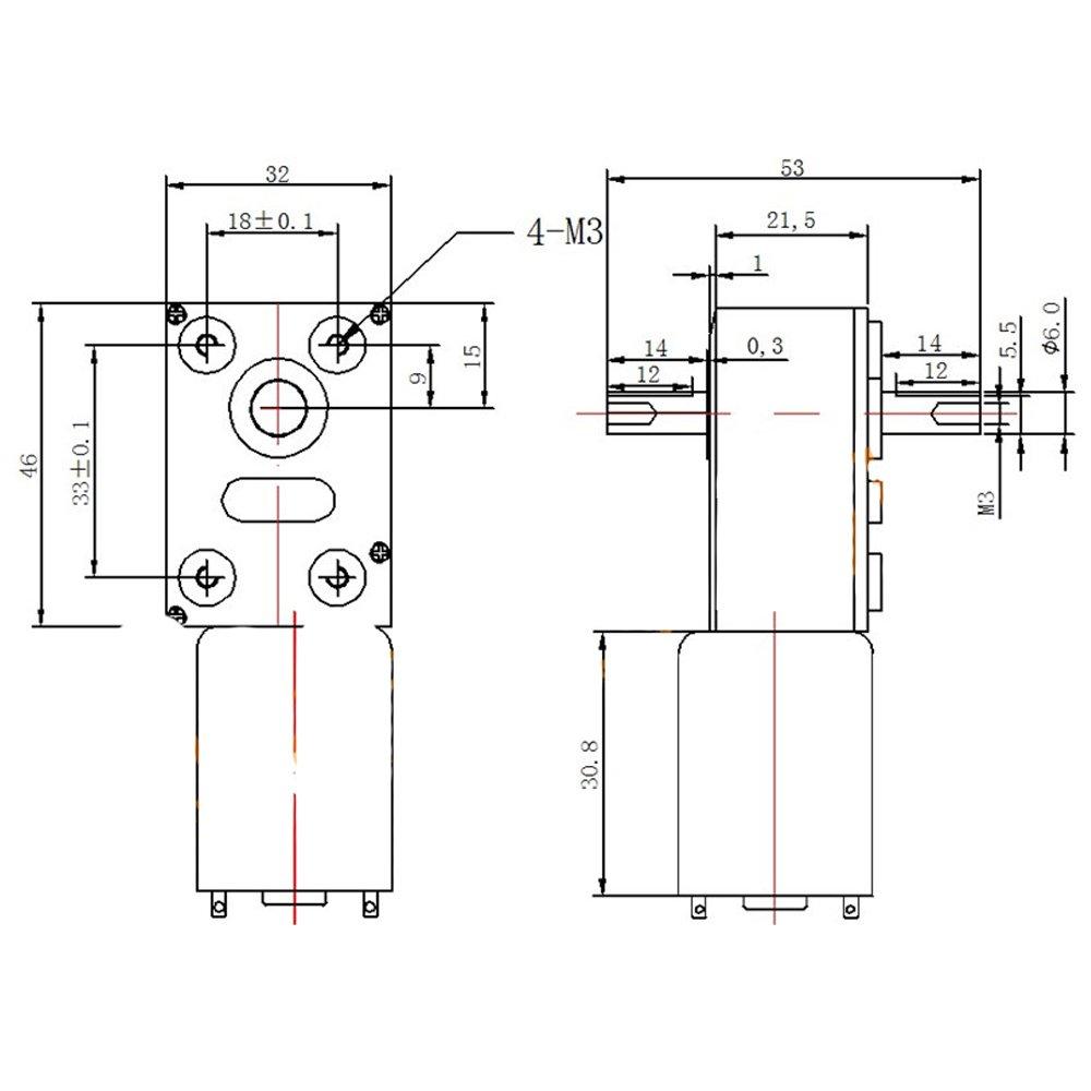 Bringsmart 6V Double Shaft Gear Motor 12V 24V DC Dual Output Shaft Reducer Self-lock (JGY-370 6V 6rpm) by Bringsmart (Image #6)