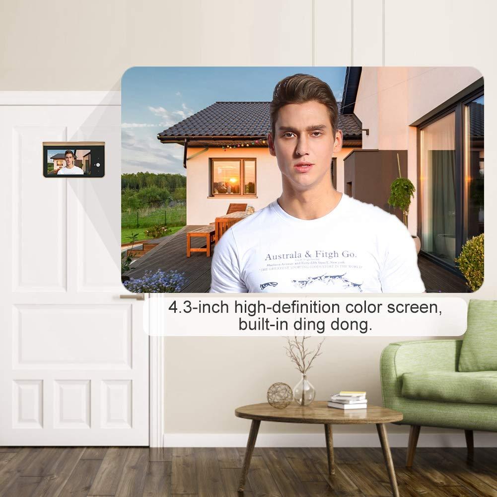 Video Timbre 4.3 Pulgadas WiFi Timbre Inteligente inal/ámbrico Visor electr/ónico de Mirilla de Puerta Sistema de Entrada de Puerta de intercomunicaci/ón de Voz bidireccional