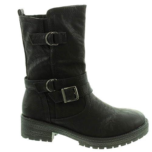 69d4324dc7a9 Heavenly Feet - Ladies Birch 2 Biker Calf Boots in Black  Amazon.co ...