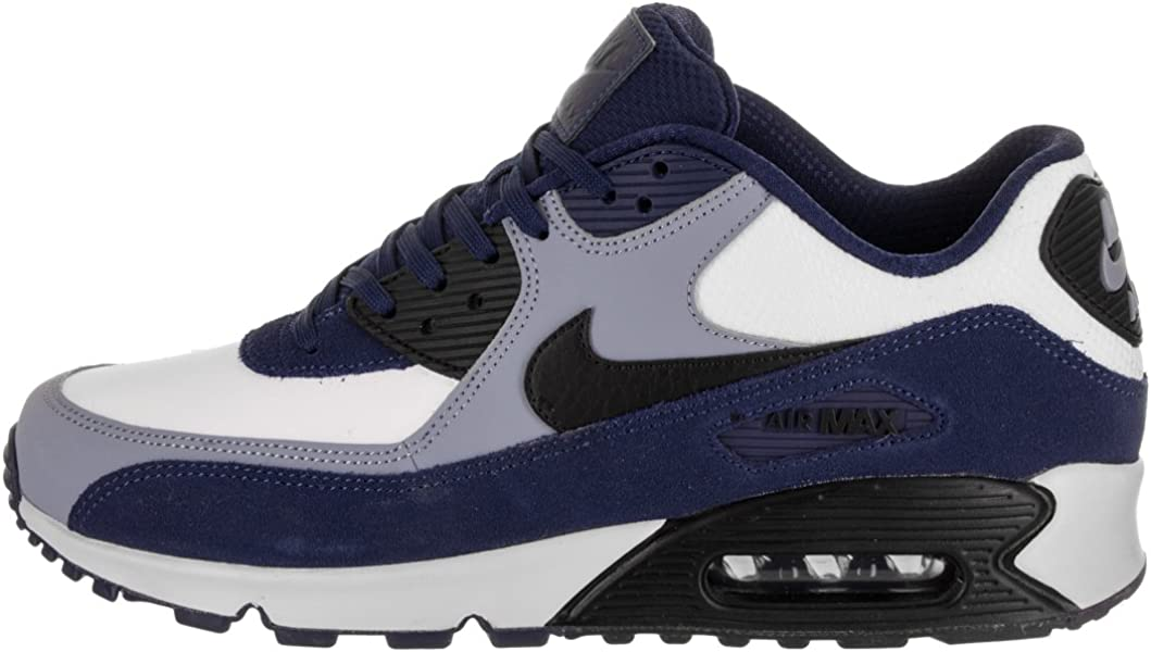 Men's Air Max 90 Leather Running Shoes, Blue VoidBlack Ashen Slate, 9