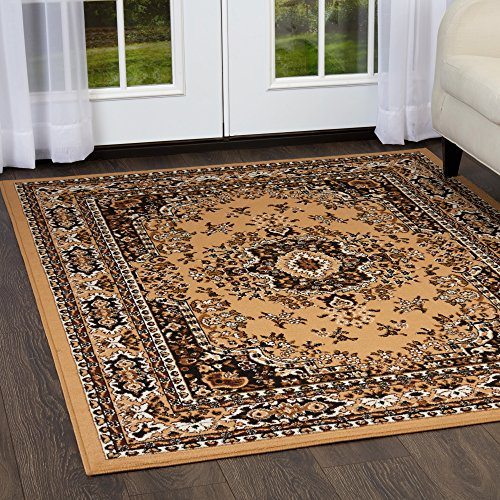 Rug Gold Rectangle Antique (Home Dynamix Premium Sakarya Area Rug by Traditional Persian-Inspired Carpet | Stylish Medallion Print and Classic Boarder Design | Dark Brown, Light Brown, Cream 7'8