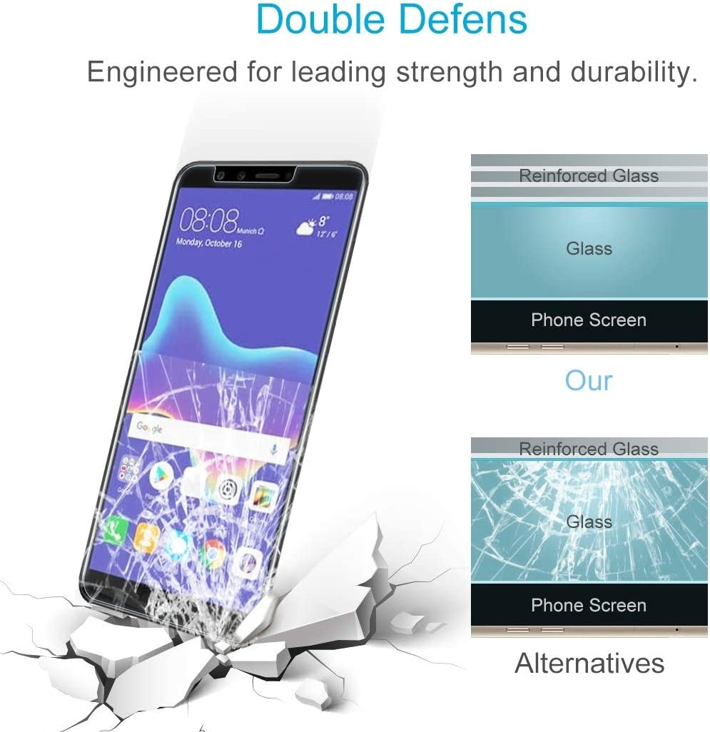 Screen Protector Film Clear 2018 100 PCS 0.26mm 9H 2.5D Tempered Glass Film for Huawei Y9
