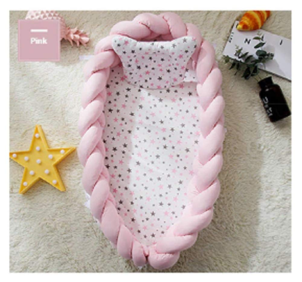 Baby Nest Bed Travel Crib Baby Bed Infant CO Sleeping Cotton Cradle Portable Snuggle 9055cm Newborn Baby Bassinet BB Artifact - Weaving Knok Pink by Hwealth