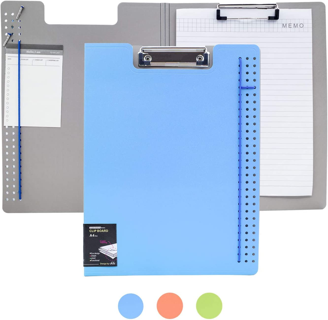 Foldable Clipboard, Enclosed Clipboards Folio,360 Degree Flip Folio Clipfolio,Closing Clipboard Padfolio, Used for Nurse Clipboard and Office Arch Clipboard,Colorful Covered Clipboard. (Blue, Upper)