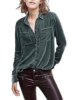 ef29c59d HaoDuoYi Womens Simple Velvet Boyfriend Button Down Long Sleeve Top Shirt