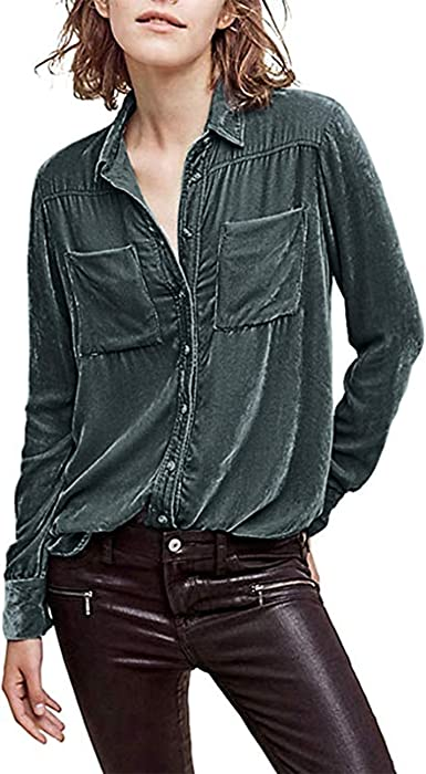 2bc211ac5c0 HaoDuoYi Womens Casual Vintage Velvet Long Sleeve Boyfriend Shirt(S ...