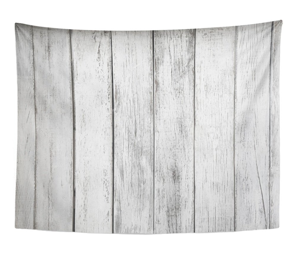 Emvency Tapestry Gray Rustic White Plank Wood Table Abstract Aged Architecture Board Building Home Decor Wall Hanging 60'' x 80'' Inches Print for Living Room Bedroom Dorm