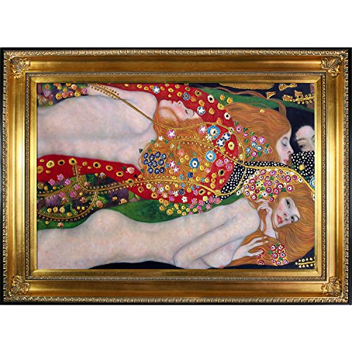 (La Pastiche Water Serpents Ii Metallic Embellished Artwork By Gustav Klimt With Regency Gold Frame)