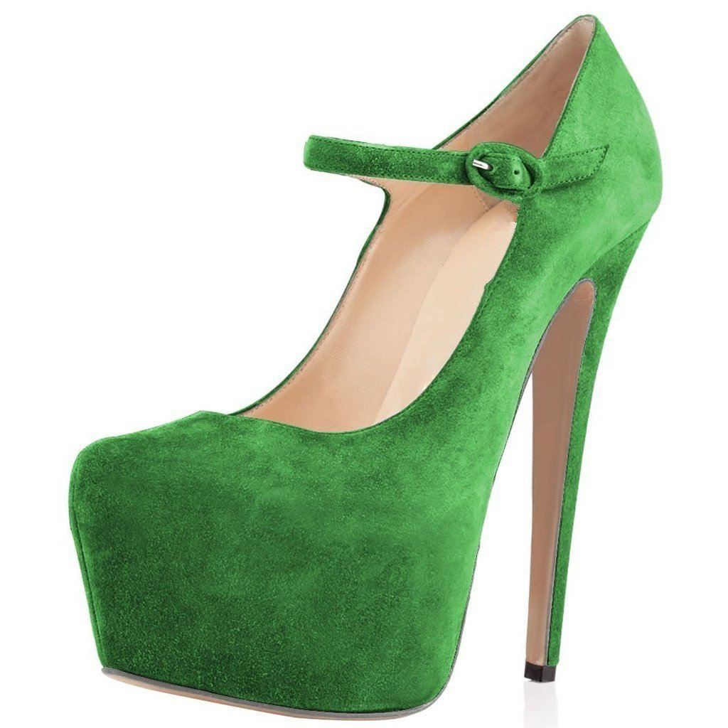 Women Mary Jane Platform Pumps Ankle Strap Stiletto High Heels Dress Shoes B06ZZ6KN15 7 B(M) US|Moss Green