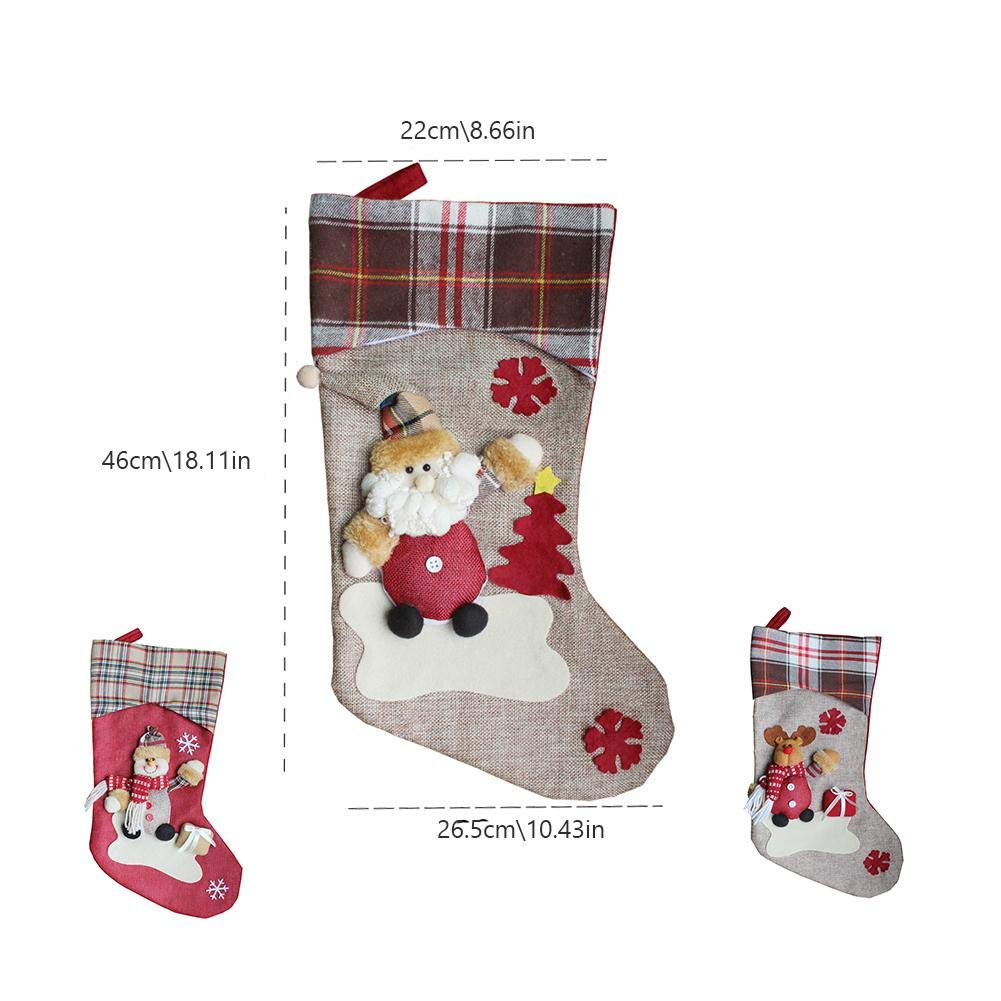 Calcetines de Navidad Bolsa de regalo Decoración de Navidad Santa Snowman Socks 3PCS - Yves25Tate: Amazon.es: Bricolaje y herramientas