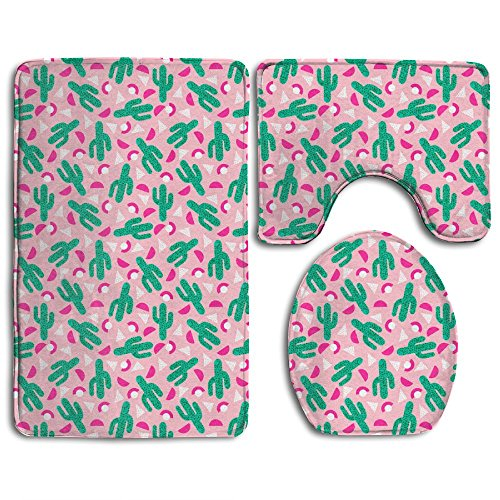 Geometry Cactus Bathroom Non-Slip 3-Piece Set Rug Contour Mat + Lid Toilet Cover + Foot Pad Bath Mat - Home Essential - Give Your Family The Best Protection (Foam Bath Walmart Rug Memory)